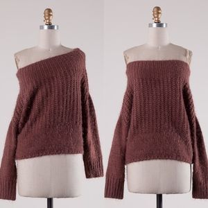 AIKO Off Shoulder Knit Sweater - RED BEAN